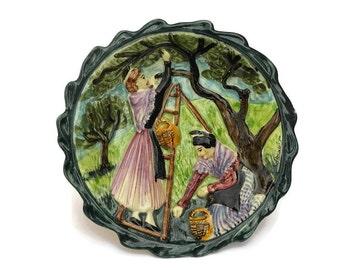 Vintage Provencal  French Majolica  Plate with Arlesienne Women Harvesting Olives.