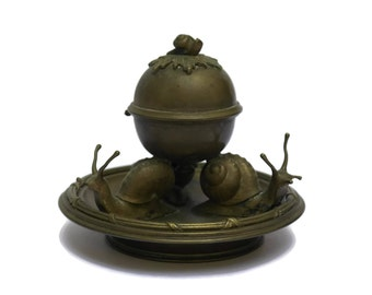Antique Bronze French Snail Caviar Bowl with Lid. Escargot Sauce Dish. Antique Snail Figures.