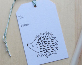 Hedgehog Gift Tags, Set of 10 All Occasion Gift Tags, Simple Black and White Hedgehog Illustration Gift Labels, Hedgehog Gift Packaging