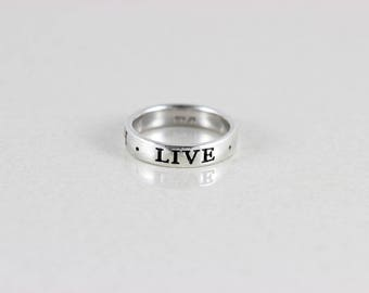 Sterling Silver Live Love Laugh Band Ring size 8 3/4
