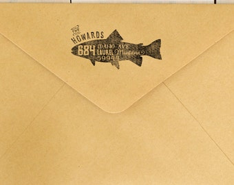 Fish Return Address Stamp - Trout Stamp - Custom Rubber Stamp - Wood Mounted Stamp