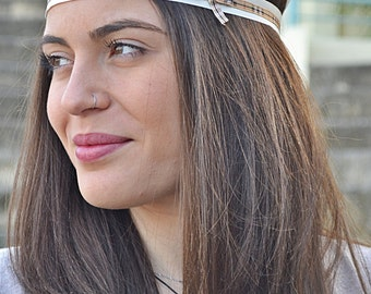 Ivory Boho Turban, Plaid Headband, Elegant Headband, Hair Accessories, Womens Boho Gifts, Boho, Hippie Headband, Boho Style Headband, Adult
