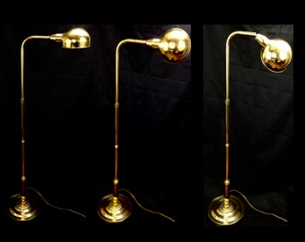 telescoping floor lamp adjustable arm swivel mid centrury modern Koch Lowy style brass finish Hollywood Regency sphere ball lamp yesteryears
