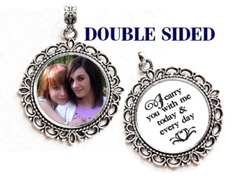Double-sided Bouquet Photo Charm / CUSTOM Vintage Silver Wedding Memorial #1 / Bridal Keepsake Gift two sided