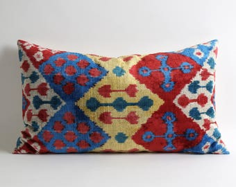 Designer decorative pillow cover // 16x26 Red blue yellow ikat velvet pillow cover // ikat bedding // eclectic home decor