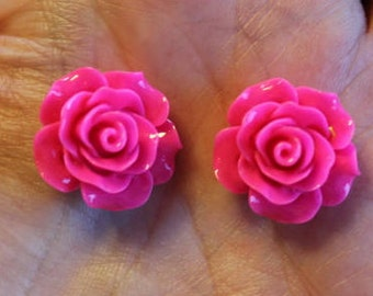 8 resin cabochons roses, 18-20 mm x 9 mm, 4 pairs neon pink roses, flat back