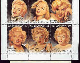 """Marilyn Monroe International Collector's Society St. Vincent Sheet Of 9 Stamps """"MINT"""""""