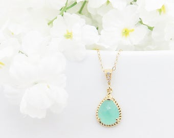 Gold Mint Necklace, Bridal Necklace, Crystal Necklace, Mothers Day Gift, Bridesmaid Necklace, Wedding Gift, Gift for Friend, Gift for Wife