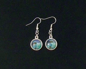 Blue & Turquoise Glass Dangle  Earrings