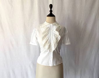 1940s cotton ruffle blouse