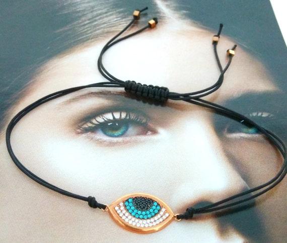 Evil eye macrame bracelet, evil eye rose gold plated silver 925 with zircons macrame bracelet, macrame bracelet, evil eye silver 925, gift