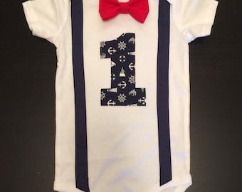 Nautical First Birthday Bow tie Onesie