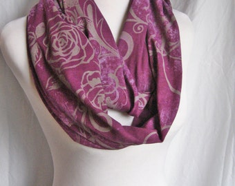 Purple Floral silver gray Roses Jersey Knit Girly Feminine LONG Infinity Scarf