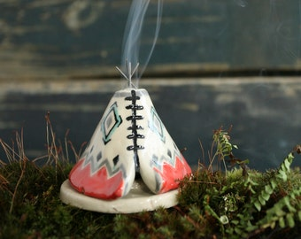 Incense Burner TeePee that smokes, Ceramic Coral Gray Design, Native American Indian Aztec Design, Stoneware Clay Pottery, Unique Yogi Gift