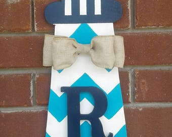Personalized Lighthouse Door Hanger with Initial