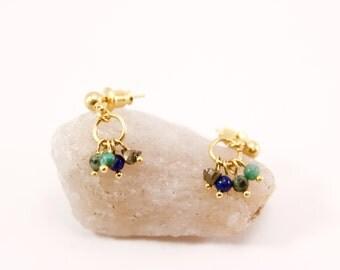 Curly ears minimalist gold fine pearls, lapis lazuli, turquoise, pyrite
