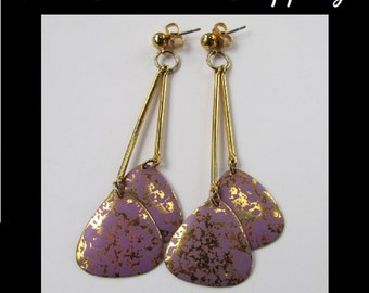 Vintage Dangle Earrings, Purple Dangle Earrings, Long Post Earrings, Gold Lavender Hanging Earrings, Retro Modern Earrings, Free US Shipping