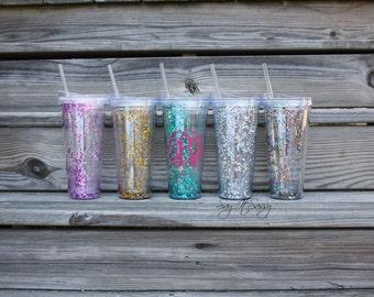 Glitter Tumbler -  Personalized Tumbler - Monogrammed Tumbler - Confetti Glitter Tumbler - Glitter Cup - Confetti Tumbler - Bridesmaid Gift