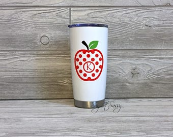 Teacher Gift-Apple Monogram Cup-Teacher Tumbler-Teacher Cup-Apple Monogram Tumbler-Stainless Steel Cup-Gift for Teacher-Apple Tumbler