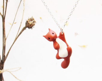 Squirrel Necklace on Sterling Silver Chain, Cute Squirrel Necklace, Cute Red Squirrel Pendant, Gift for Squirrel Lover, Animal Necklace