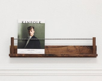The Columnist : Walnut + Steel Magazine Rest (wall hanging magazine rack display ledge)