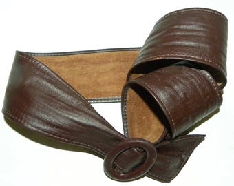 1980s 80s Brown Leather CINCH Belt / Classic / Vintage wide belt / Fits XS/S