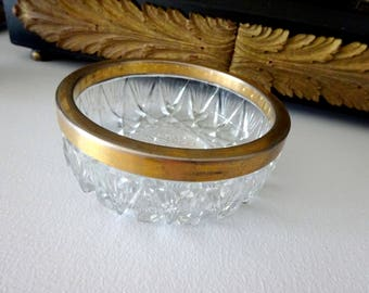 Crystal dish bowl accented with gold plated rim