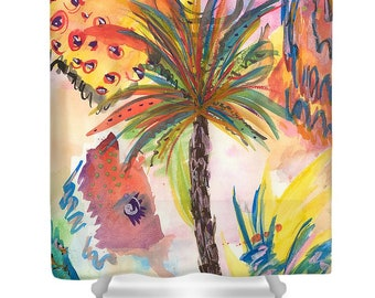 Tropical Shower Curtain - Palm Tree Shower Curtain - Beach Shower Curtain - Unique Shower Curtain - Painted Shower Curtain