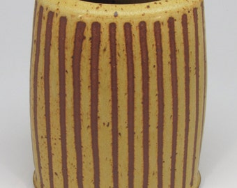 Oval Yellow Vase with Vertical Stripes