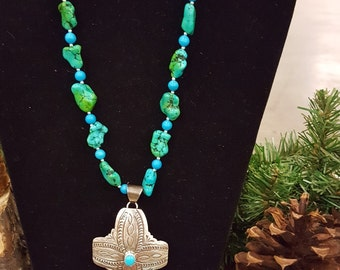 Sterling silver cross pendant with turquoise magnesite nuggets