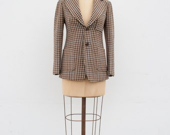 vintage 1970s houndstooth custom tailored jacket