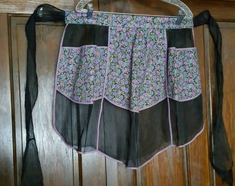 Vintage Black Organza and Floral Cotton Hand Made Apron 1950s   D610J