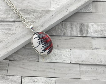 Red and black flame pendant   Polymer clay flame pendant