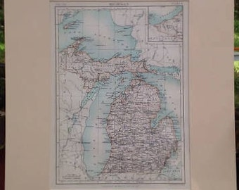 MICHIGAN antique map 1800s, Encyclopedia Britannica, Matted