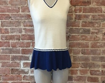 Wool Tennis Dress - Mini Mod Dress - 60s Mini Dress - V-Neck