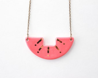 Coral and Gold Necklace, Gold Sunburst Necklace, Half Circle Necklace, Gifts for Her under 50, Geometric Jewelry, Ceramic Cutout Necklace
