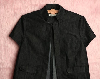 Short Sleeve Dark Denim Blazer