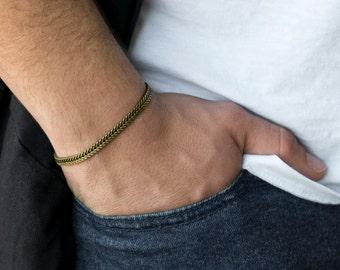Men's Bracelet - Men's Brass Bracelet - Men's Cuff Bracelet - Men's Jewelry - Men's Chain Bracelet - Men's Gift - Boyfriend Gift - Husband
