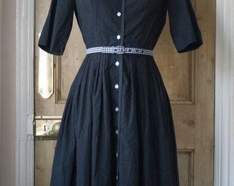 Black 1950s Shirtdress / Button Up Dress By Barnsville USA - Size S / M