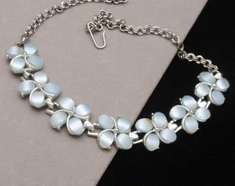 Pale Blue Floral Thermoset Necklace Vintage