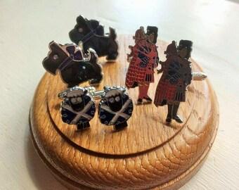 Scottie Dog/ on hematite cufflinks or Scottishpiper/ sheep on silver tone cufflinks