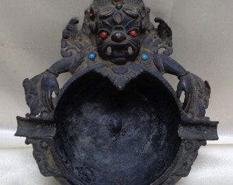 Estate Found Antique Decorative Hindu Deity Bhairava Designed Metal Ashtray