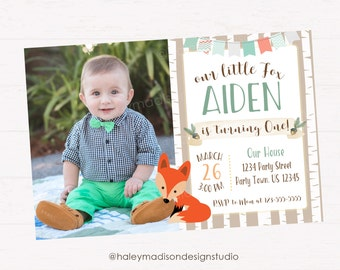 Fox Birthday Invitation, Little Fox Birthday Party Invitation, Woodland Birtday Invitation DIGITAL FILE