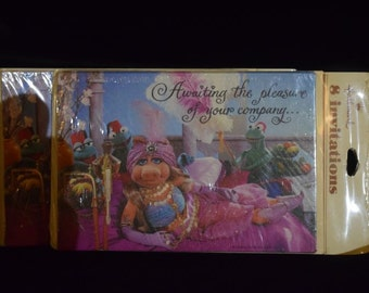 Vintage Miss Piggy and Kermit the frog party invitations new in package Muppets, Hallmark, 1979