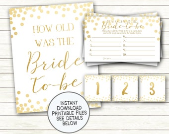 How Old was the Bride to be Shower Game Printable Guess the Bride's Age Bachelorette Party Engagement Gold Confetti Glitter Instant Download