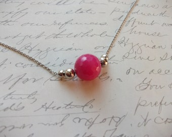 Hot pink agate minimalist style necklace
