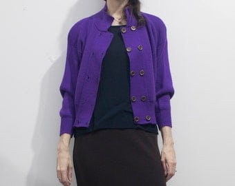 SALE! 80s does 40s Purple Double-Breasted Cardigan // Batwing Sleeve Knit Sweater Jacket sz. S / M