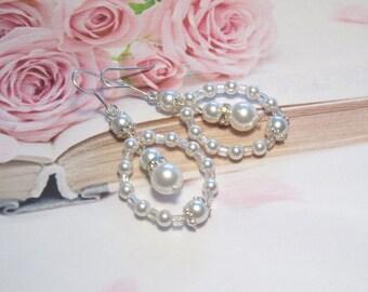 Wedding jewellery earrings 925 Silver, Bridal jewelry earrings Sterling Silver white pearls