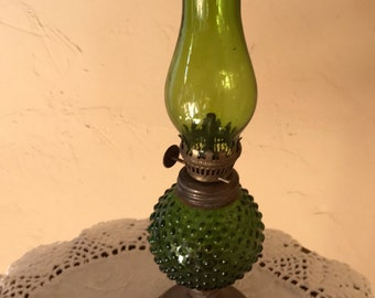 "Vintage Small Hurricane Oil Lamp Green Hob Nail Glass Brass Base 10"" tall"