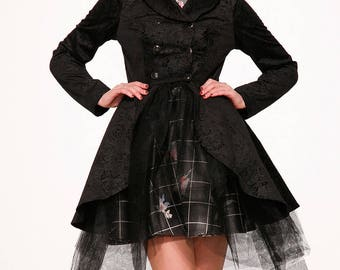 Black Jacquard Double-Breasted Coat Dress